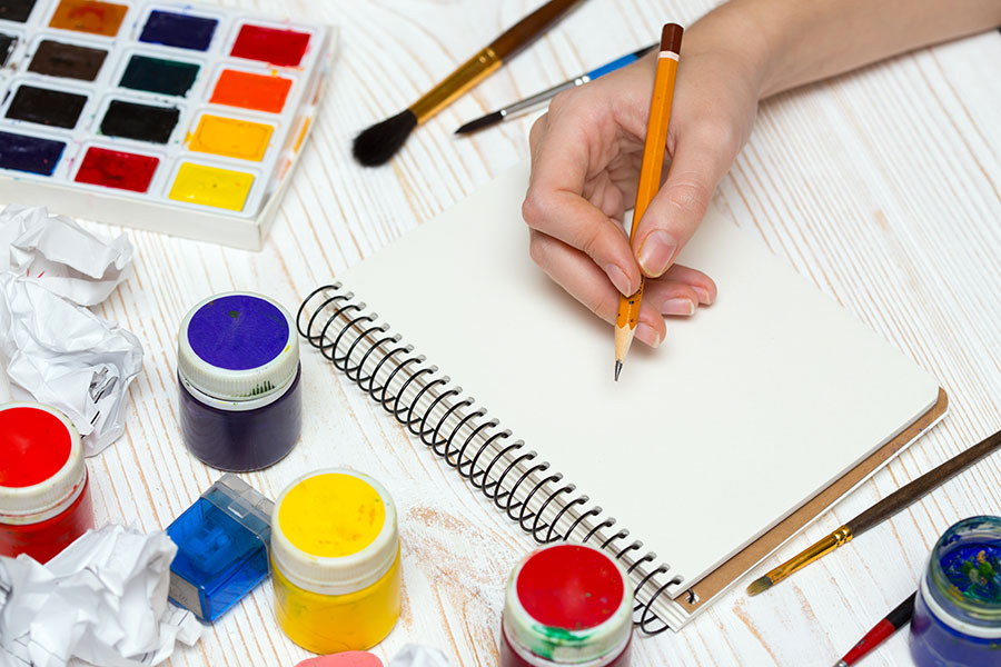 Brush strokes, Australian art and crafts exercises.